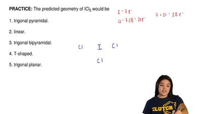 The predicted geometry of ICl3 would be  1. trigonal pyramidal.  2. linear.  3...