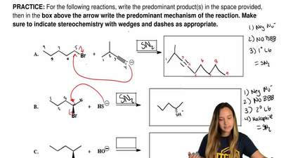 For the following reactions, write the predominant product(s) in the space pro...