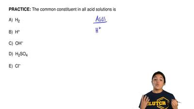 The common constituent in all acid solutions is  A) H2   B)...
