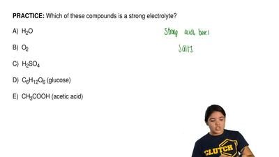 Which of these compounds is a strong electrolyte?  A)  H2O  B)  O2            ...