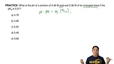 What is the pH of a solution of 0.46 M acid and 0.36 M of its conjugate base i...