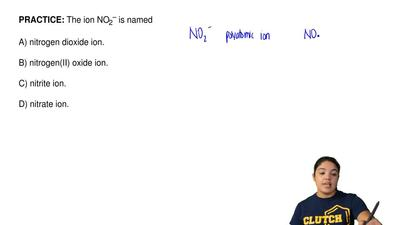 The ion NO2– is named  A) nitrogen dioxide ion.  B) nitrogen(II) oxide ion.  C...