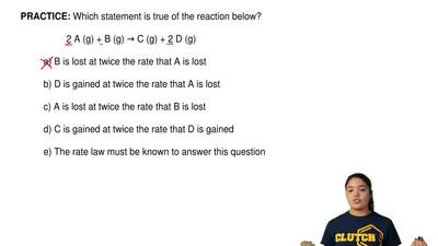 Which statement is true of the reaction below?   2 A (g) + B (g) → C (g) + 2 D...