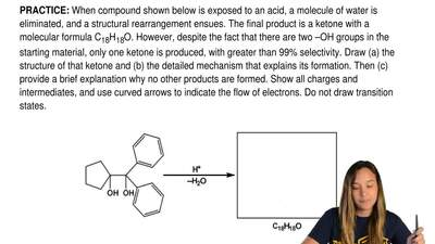 When compound shown below is exposed to an acid, a molecule of water is elimin...