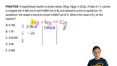 A hypothetical reaction is shown below. 2A(g) +B2(g) ↔ 2C(g). A flask of 1 L v...