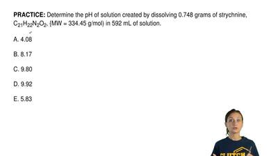 Determine the pH of solution created by dissolving 0.748 grams of strychnine, ...