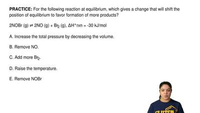 For the following reaction at equilibrium, which gives a change that will shif...