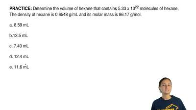 Determine the volume of hexane that contains 5.33 x 10 22 molecules of hexane....