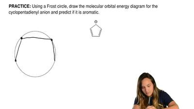 Using a Frost circle, draw the molecular orbital energy diagram for the cyclop...
