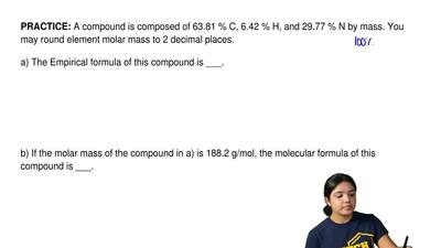 A compound is composed of 63.81 % C, 6.42 % H, and 29.77 % N by mass. You may ...