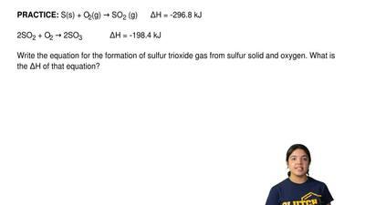 S(s) + O2(g) →SO2 (g)   ∆H = ‐296.8 kJ  2SO2 + O2 →2SO3      ∆H = ...