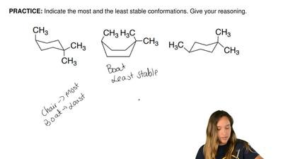 Indicate the most and the least stable conformations. Give your reasoning.   ...