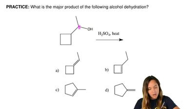 What is the major product of the following alcohol dehydration? ...