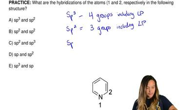 What are the hybridizations of the atoms (1 and 2, respectively in the followi...