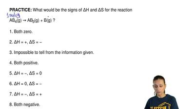 What would be the signs of ∆H and ∆S for the reaction  AB4(g) → AB3(g) + B(g) ...
