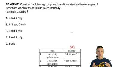 Consider the following compounds and their standard free energies of formation...