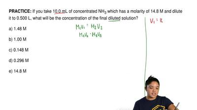 If you take 10.0 mL of concentrated NH 3 which has a molarity of 14.8 M and di...
