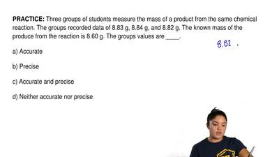 Three groups of students measure the mass of a product from the same chemical ...