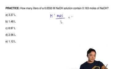 How many liters of a 0.0550 M NaOH solution contain 0.163 moles of NaOH?  a) 3...