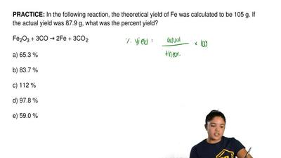 In the following reaction, the theoretical yield of Fe was calculated to be 10...
