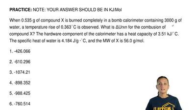 NOTE: YOUR ANSWER SHOULD BE IN KJ/Mol  When 0.535 g of compound X is burned co...
