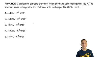 Calculate the standard entropy of fusion of ethanol at its melting point 159 K...