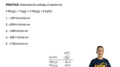 Determine the enthalpy of reaction for  4 NH3(g) + 7 O2(g) → 4 NO2(g) + 6 H2O(...