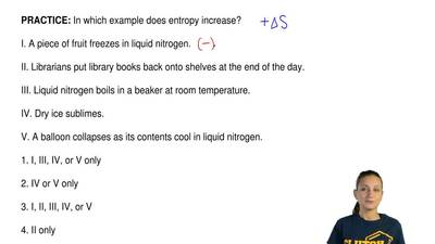 In which example does entropy increase?  I. A piece of fruit freezes in liquid...