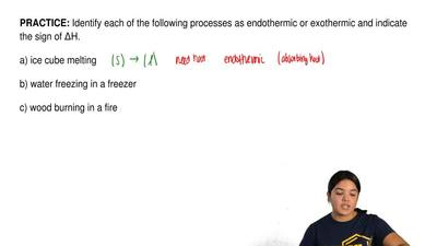 Identify each of the following processes as endothermic or exothermic and indi...
