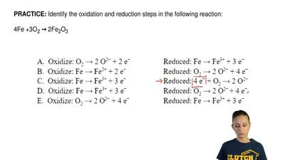 Identify the oxidation and reduction steps in the following reaction:  4Fe +3O...