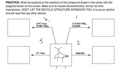 Write the products of the reactions of the compound shown in the center with t...