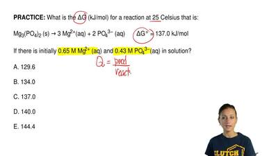 What is the ΔG (kJ/mol) for a reaction at 25 Celsius that is:  Mg3(PO4)2 (s) →...
