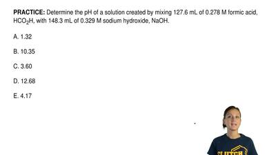 Determine the pH of a solution created by mixing 127.6 mL of 0.278 M formic ac...