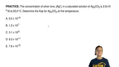 The concentration of silver ions, [Ag+], in a saturated solution of Ag2CO3is...