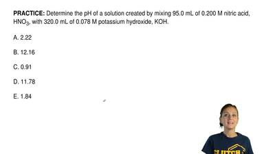 Determine the pH of a solution created by mixing 95.0 mL of 0.200 M nitric aci...