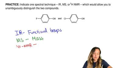 Indicate one spectral technique – IR, MS, or 1H NMR – which would allow you to...