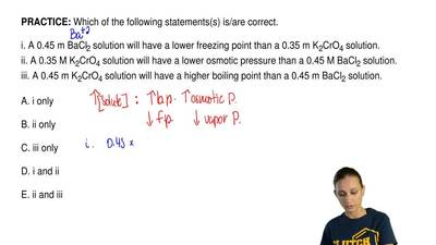 Which of the following statements(s) is/are correct.  i. A 0.45 m BaCl2 soluti...