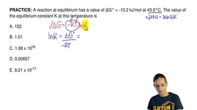 A reaction at equilibrium has a value of ΔG° = -13.2 kJ/mol at 43.0°C. The val...