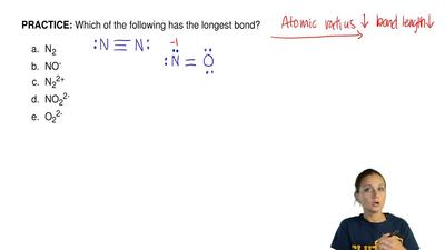 Which of the following has the longest bond?   	N2 	NO- 	N22+ 	NO22- 	O22-  ...