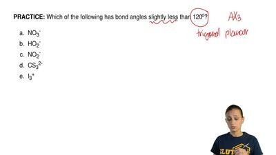 Which of the following has bond angles slightly less than 120 o?   	NO3- 	HO2-...
