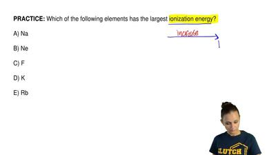 Which of the following elements has the largest ionization energy?  A) Na  B) ...