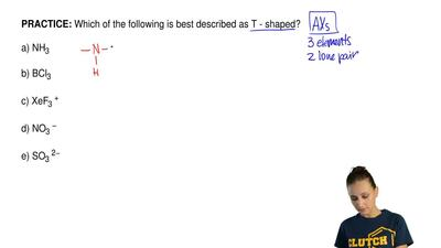 Which of the following is best described as T - shaped?  a) NH3  b) BCl3  c) X...