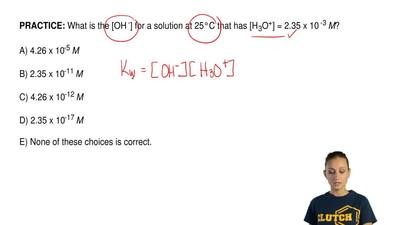 What is the [OH -] for a solution at 25°C that has [H 3O+] = 2.35 x 10 -3 M?  ...