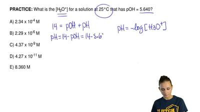 What is the [H3O+] for a solution at 25°C that has pOH = 5.640?  A) 2.34 x10-...