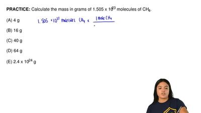 Calculate the mass in grams of 1.505 x 10 23 molecules of CH 4.  (A) 4 g  (B) ...