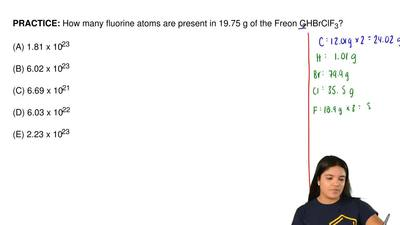 How many fluorine atoms are present in 19.75 g of the Freon C 2HBrClF3?  (A) 1...