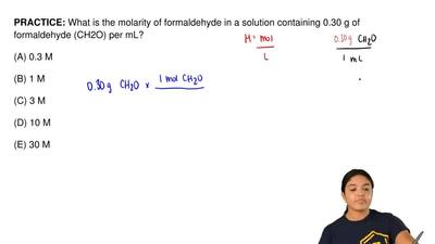 What is the molarity of formaldehyde in a solution containing 0.30 g of formal...