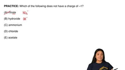 Which of the following does not have a charge of –1?  (A) nitrate  (B) hydroxi...
