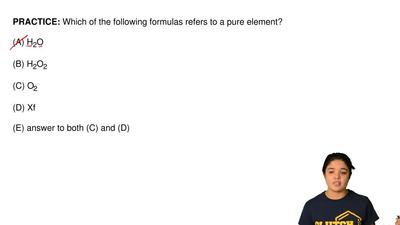 Which of the following formulas refers to a pure element?  (A) H2O  (B) H2O2  ...
