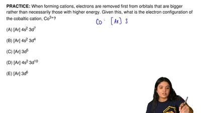 When forming cations, electrons are removed first from orbitals that are bigge...